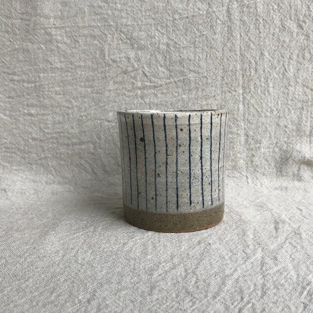 焼酎カップ(青ライン柄)の画像1枚目