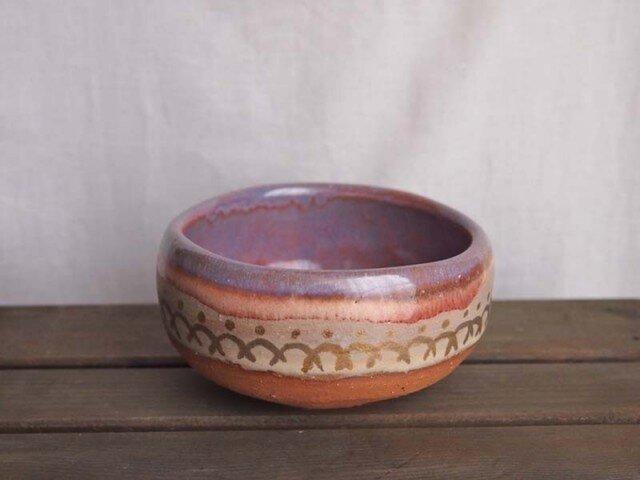 ピンクと金の茶碗(Wave)の画像1枚目