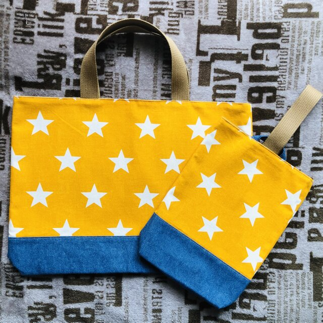 STAR×denim  レッスンバッグ&シューズケース【yellow】の画像1枚目