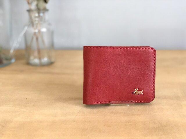 栃木レザー 手縫いの二つ折り財布 (赤)の画像1枚目