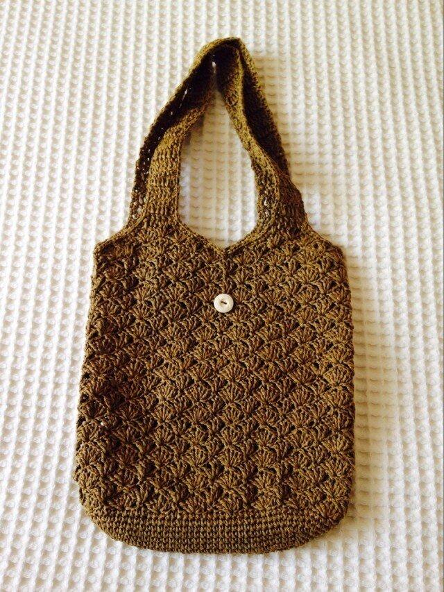 麦わら素材のショルダーバッグ(茶色)の画像1枚目