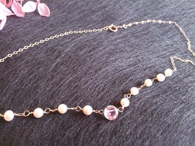 ピンクアメジストと淡水真珠のネックレス[14KGF]の画像1枚目