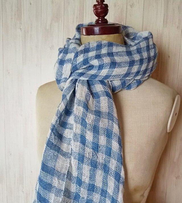 草木染め 藍染めリネン 手織りプチ大判ストール の画像1枚目