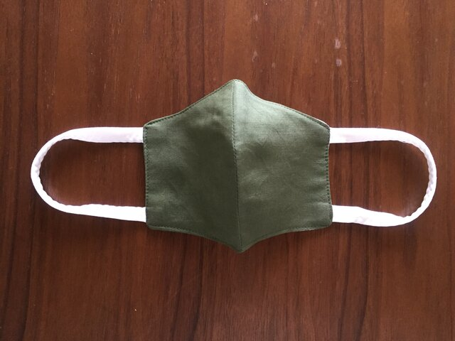 夏用立体布マスク 男性用グリーンの画像1枚目