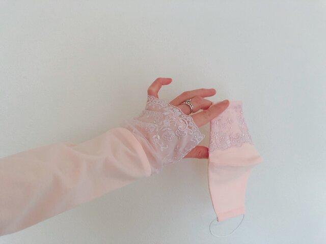 手元口元レディなセット アームカバー&マスク ピーチピンク&薄藤 ACPK2の画像1枚目