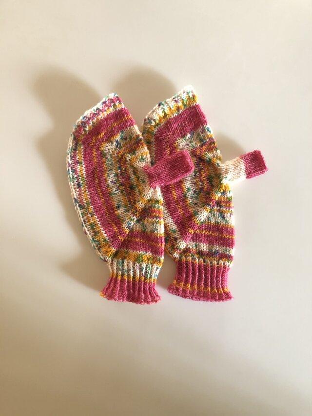 №331 手編みミトン 赤ずきんちゃんの画像1枚目