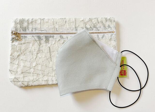 Lsize夏リネンマスク & 和紙プリントポーチ テキスタイルの箱舟/ゾウ/Wの画像1枚目