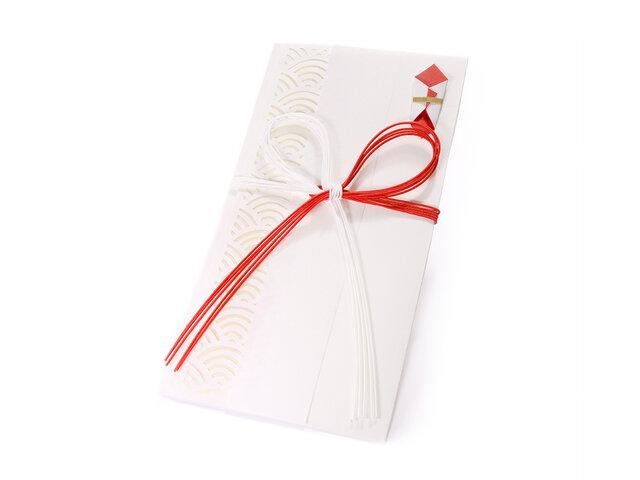 【ご祝儀袋】 青海波(花結び)・白の画像1枚目