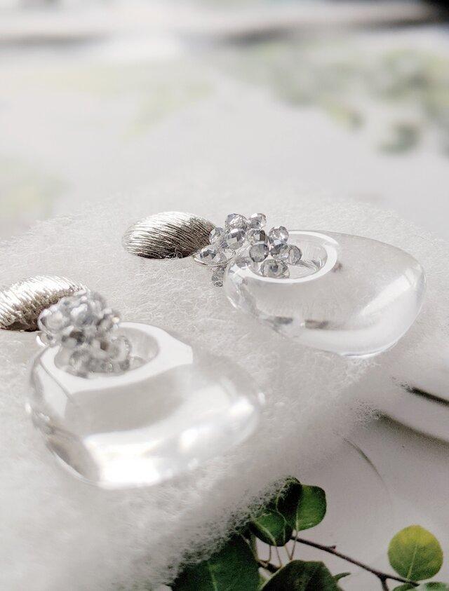 silver brush × clear drop *summer holiday* ピアス/イヤリング(ゴールド可)の画像1枚目
