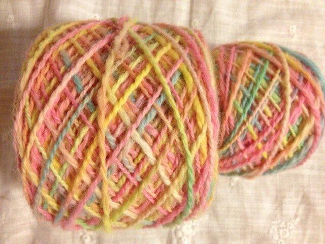 手染め毛糸 ピンク系 ストレート太 194gの画像1枚目