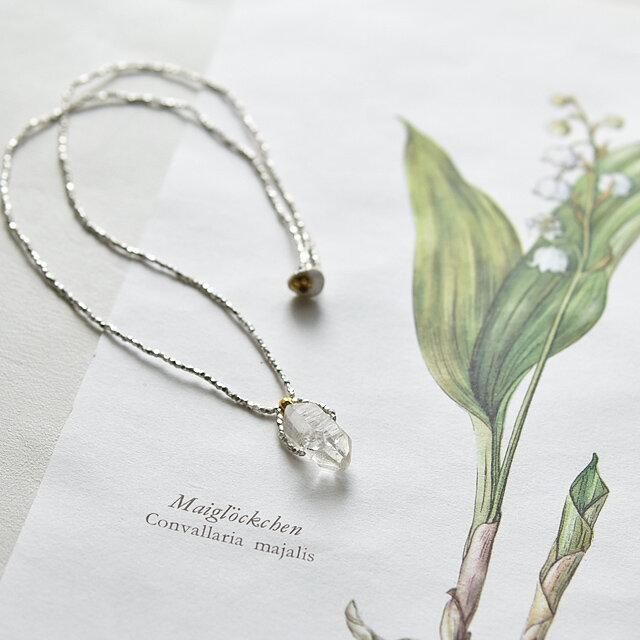 【再販】ダブルポイント水晶×カレンシルバーシンプルネックレス   Karen Silver n1395の画像1枚目