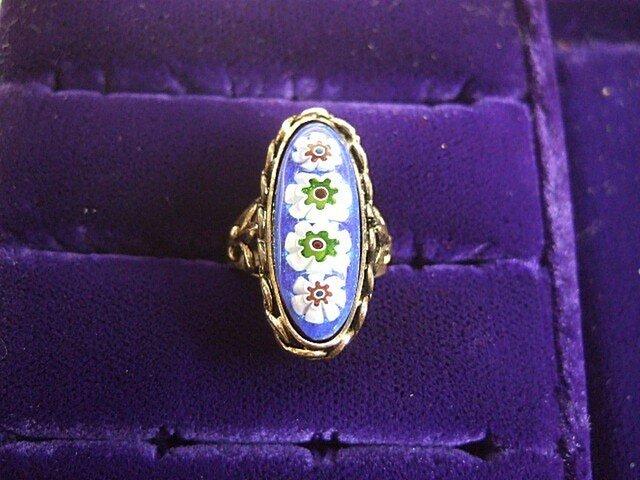 銀七宝 指輪 細長 ミルフィオリの画像1枚目