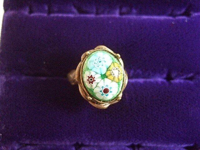 銀七宝 指輪 小判 ミルフィオリ 艶なしブロンズ調の画像1枚目