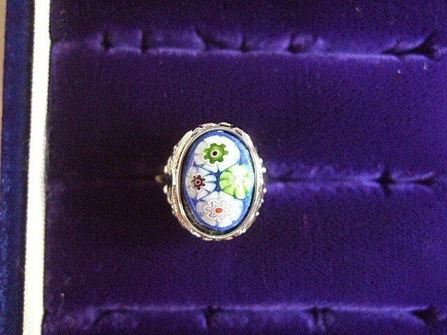 銀七宝 指輪 小判 ミルフィオリ 艶ありクロムの画像1枚目