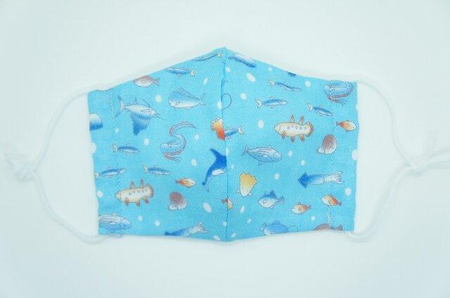 【ダブルガーゼの立体布マスク】《子ども用》海の生き物の画像1枚目