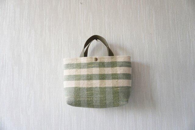 裂き織りのバッグS ミルクベージュ×淡いモスグリーン チェックの画像1枚目