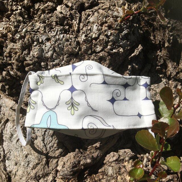 【受注製作】チヂリ柄プリント マスク アイヌ柄 ホワイトの画像1枚目