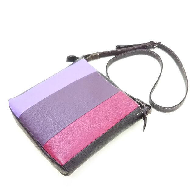 【牛革】正方形*しましまショルダーバッグ(パープル×紫×ローズ)*受注製作*の画像1枚目