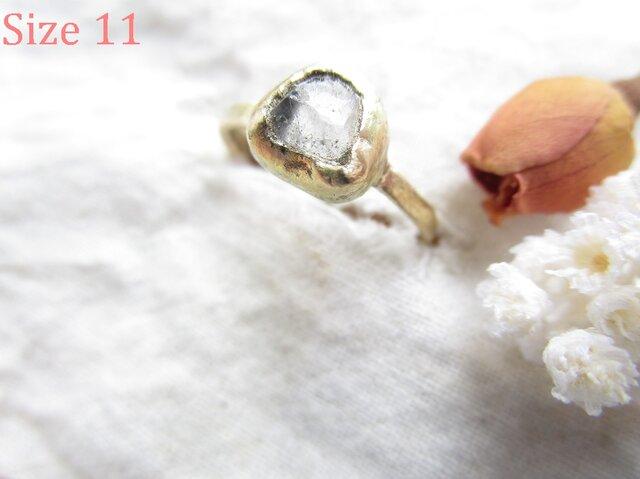 真鍮 ハーキマーダイヤモンド カケラ リングの画像1枚目