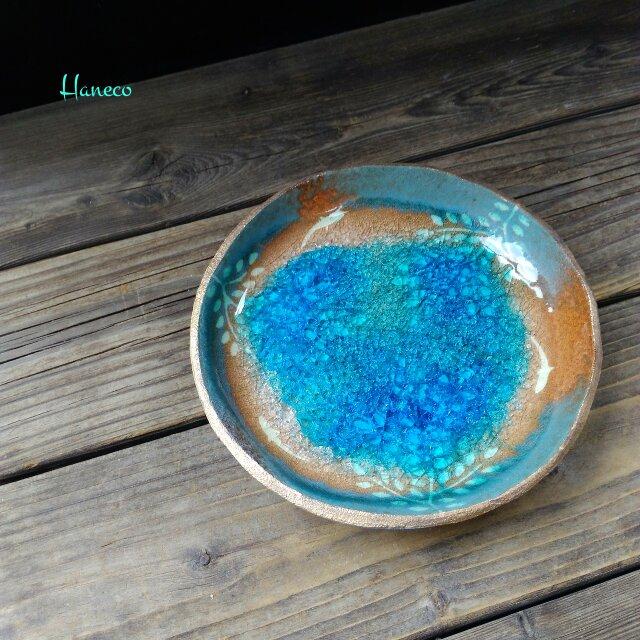 空色みずたまり中皿 no.33 枝葉と魚の画像1枚目