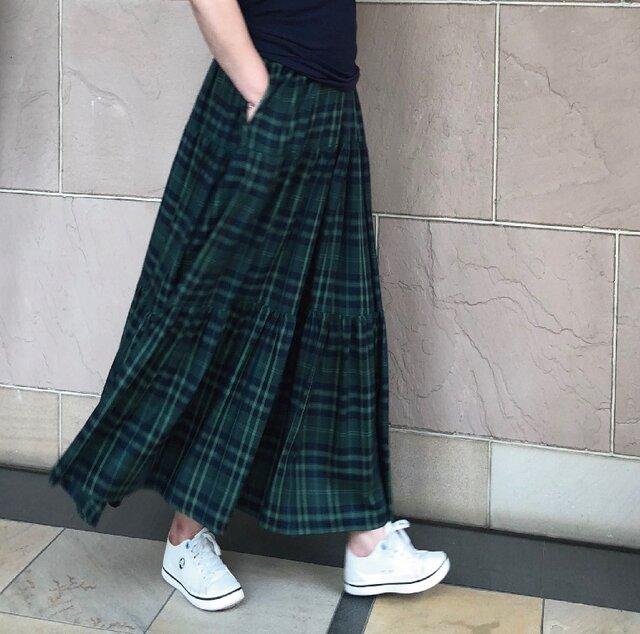 グリーンチェック ティアードギャザースカート 受注製作の画像1枚目