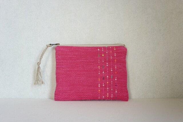 裂き織りのフラットポーチ ピンクの画像1枚目