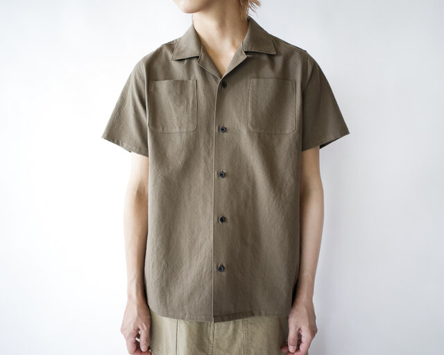 original cotton /open collar shirtの画像1枚目