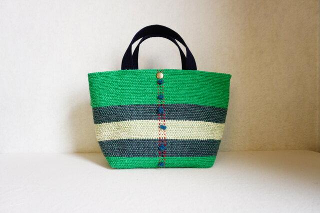 裂き織りのランチバッグ アップルグリーンの画像1枚目