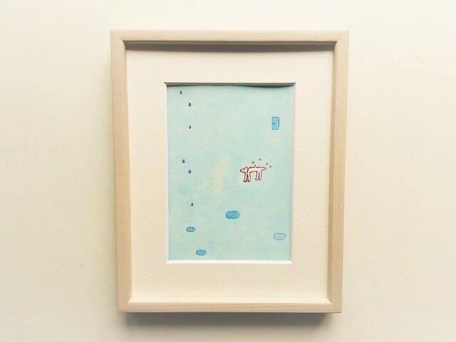 「雨と白い犬」イラスト原画 ※木製額縁入りの画像1枚目