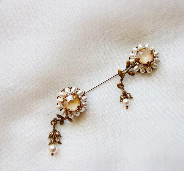 murmures des fleurs ホワイト・クリーム(ハットピン・ラペルピン)の画像1枚目