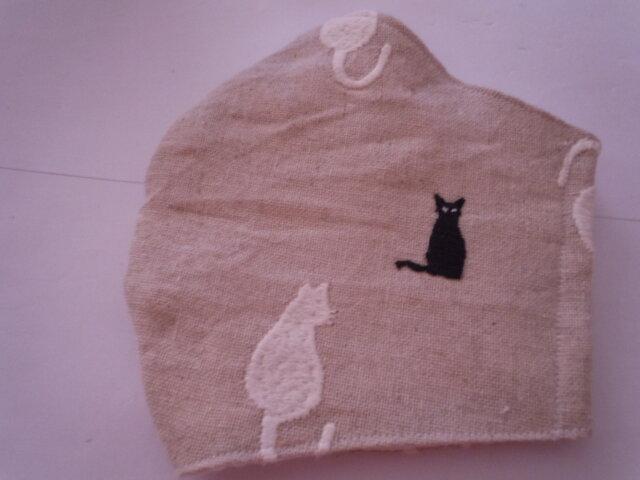 涼感加工猫の刺繡立体マスク黒猫アップリケの画像1枚目