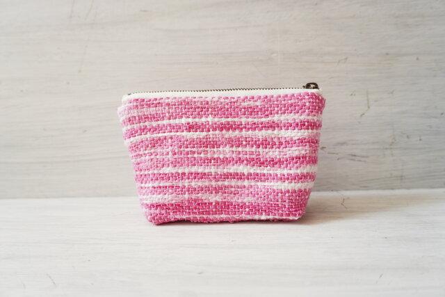 裂き織りのキャンディポーチ 優しいピンクの画像1枚目