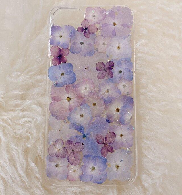 【全機種対応】紫陽花うめつくし♡押し花スマホカバー♡iPhoneからAndroidまで全ての画像1枚目