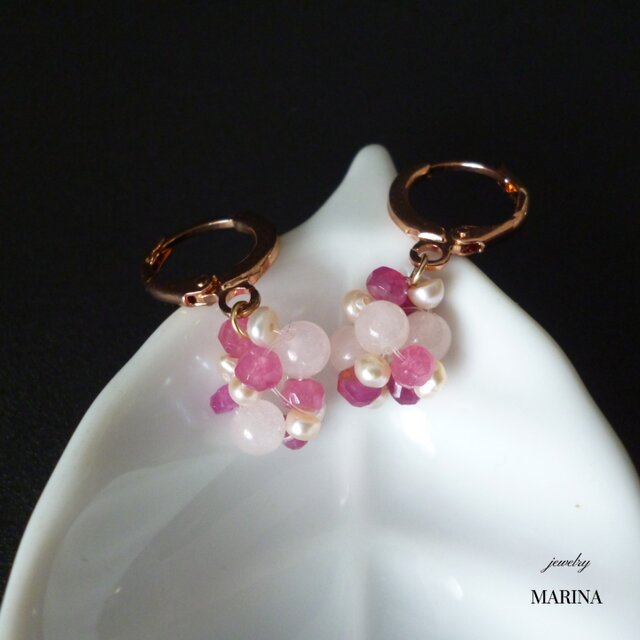 Berryピアス - Pink Sapphire 14kgfの画像1枚目