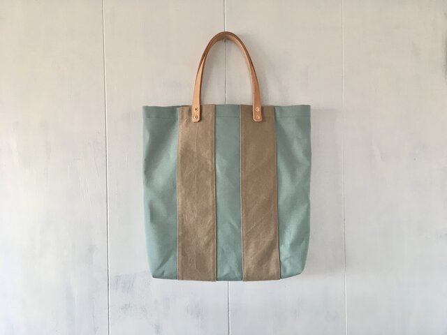 【受注製作】ミントグリーンとカフェオレ色の大きな鞄の画像1枚目