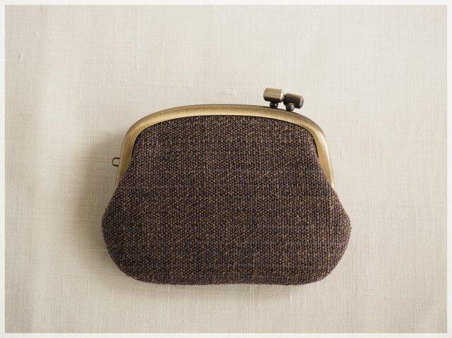 ■横ひねりのがま口コインケース / 手紡ぎ、手織りシルク・リネン ad■ panier (gmi-ad)の画像1枚目