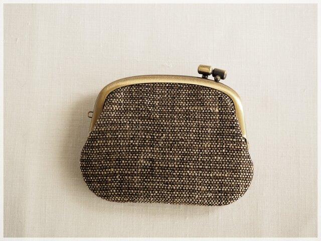 ■横ひねりのがま口コインケース / 手紡ぎ、手織りシルク・リネン aa■ panier (gmi-aa)の画像1枚目