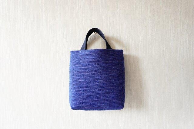 【受注制作】裂き織りのおさんぽバッグ 青の画像1枚目