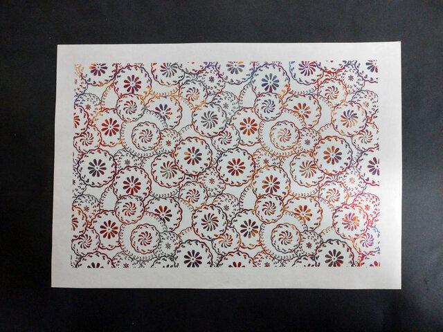 ギルディング和紙A3サイズ 花輪 生成和紙 赤混合箔の画像1枚目