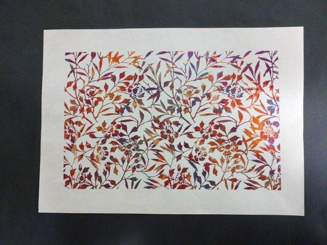 ギルディング和紙A3サイズ 椿 生成和紙 赤混合箔の画像1枚目