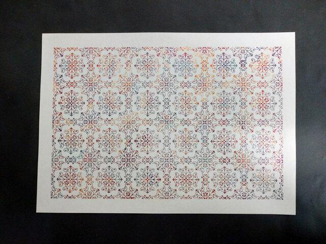 ギルディング和紙A3サイズ クラシック 生成和紙 赤混合箔の画像1枚目