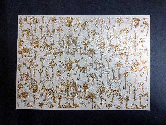 ギルディング和紙A3サイズ 鍵 生成和紙 黄混合箔の画像1枚目