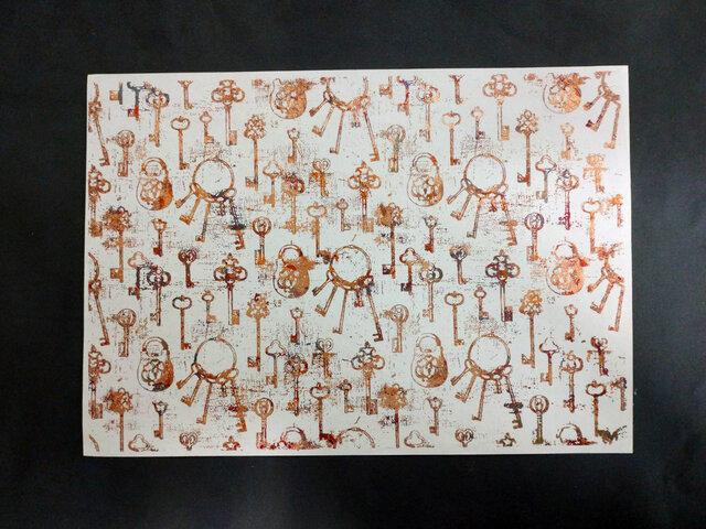 ギルディング和紙A3サイズ 鍵 生成和紙 赤混合箔の画像1枚目