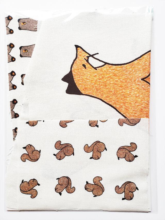 手描きのはぎれセット【大きなキタキツネ再販】の画像1枚目