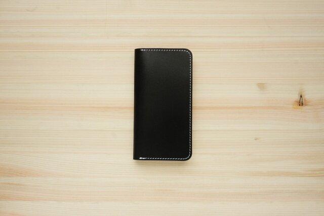 牛革 iPhoneSE2 カバー  ヌメ革  レザーケース  手帳型  ブラックカラーの画像1枚目