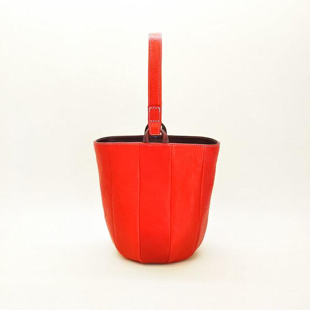 小さめの丸底レザーバッグ【6色からお選びいただけます】の画像1枚目