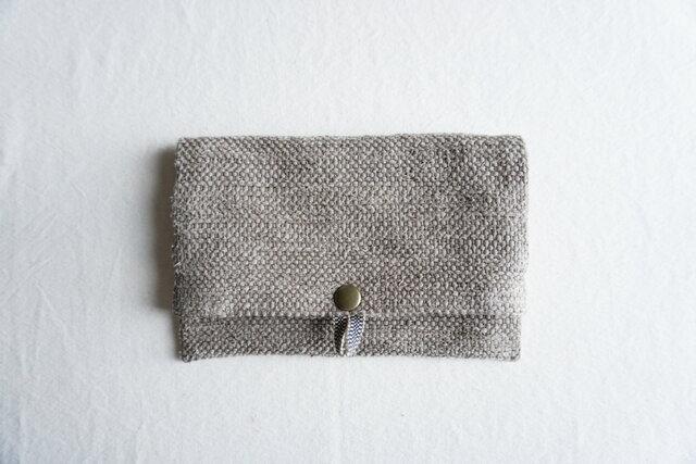 【受注制作】裂き織りのフリーポーチ A5 モカベージュの画像1枚目