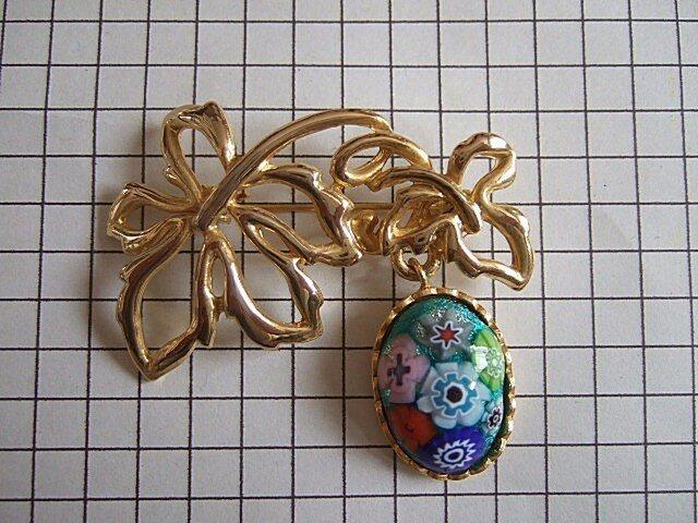 銀七宝 ブローチ ミルフィオリ 楕円 金色クロム金具の画像1枚目