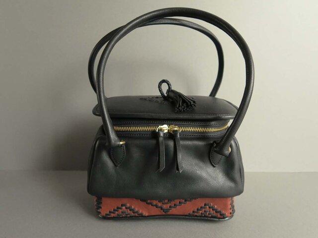 two handles pot bag -orient (black×reddish brown)の画像1枚目