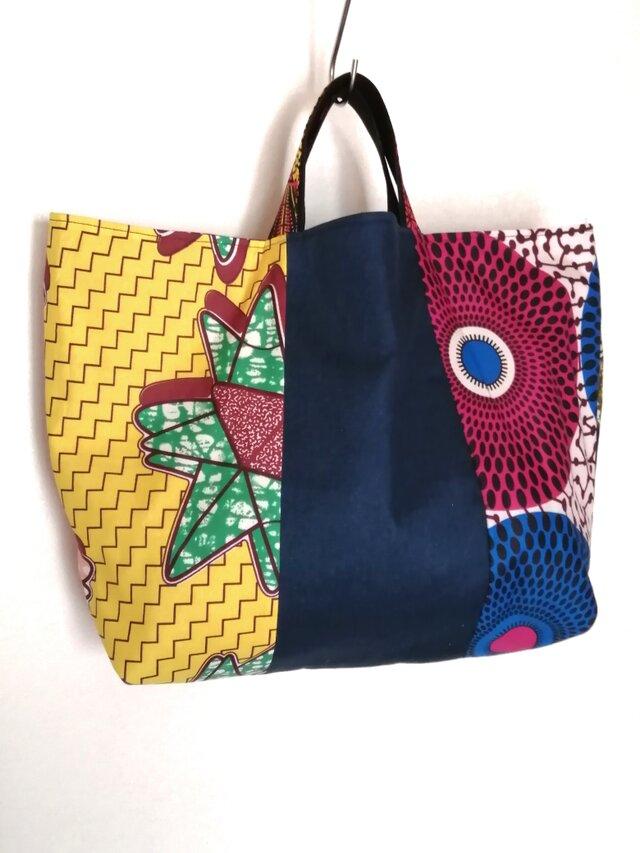 アフリカパッチワーク布ハンドメイドバッグの画像1枚目